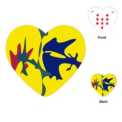 Yellow amoeba abstraction Playing Cards (Heart)