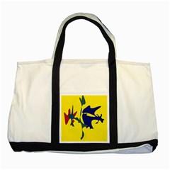 Yellow amoeba abstraction Two Tone Tote Bag