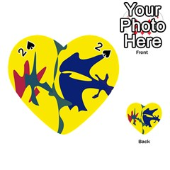 Yellow amoeba abstraction Playing Cards 54 (Heart)