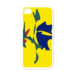 Yellow amoeba abstraction Apple iPhone 4 Case (White)