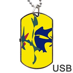 Yellow amoeba abstraction Dog Tag USB Flash (One Side)