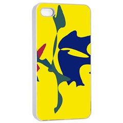 Yellow amoeba abstraction Apple iPhone 4/4s Seamless Case (White)