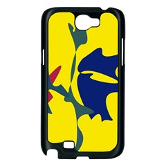 Yellow amoeba abstraction Samsung Galaxy Note 2 Case (Black)