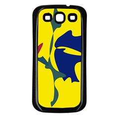 Yellow amoeba abstraction Samsung Galaxy S3 Back Case (Black)