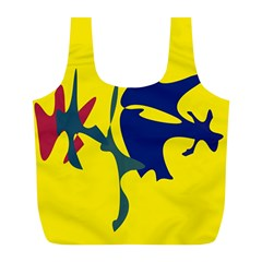 Yellow amoeba abstraction Full Print Recycle Bags (L)