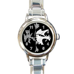 Black and white amoeba abstraction Round Italian Charm Watch