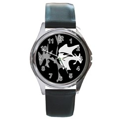 Black and white amoeba abstraction Round Metal Watch