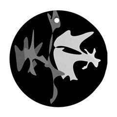 Black and white amoeba abstraction Ornament (Round)