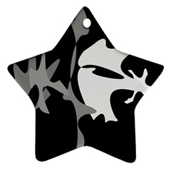 Black and white amoeba abstraction Ornament (Star)
