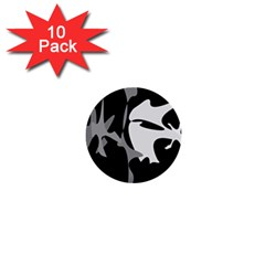 Black and white amoeba abstraction 1  Mini Buttons (10 pack)