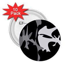 Black and white amoeba abstraction 2.25  Buttons (10 pack)