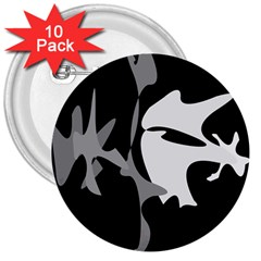 Black and white amoeba abstraction 3  Buttons (10 pack)