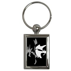 Black and white amoeba abstraction Key Chains (Rectangle)