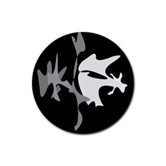 Black and white amoeba abstraction Rubber Coaster (Round)