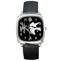 Black and white amoeba abstraction Square Metal Watch