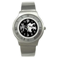 Black and white amoeba abstraction Stainless Steel Watch
