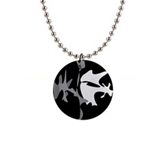 Black and white amoeba abstraction Button Necklaces
