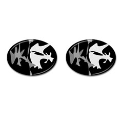 Black and white amoeba abstraction Cufflinks (Oval)