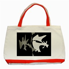 Black and white amoeba abstraction Classic Tote Bag (Red)