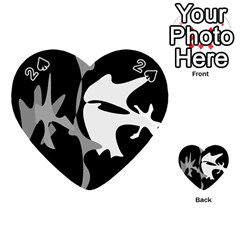 Black and white amoeba abstraction Playing Cards 54 (Heart)