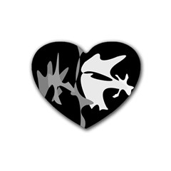 Black and white amoeba abstraction Heart Coaster (4 pack)