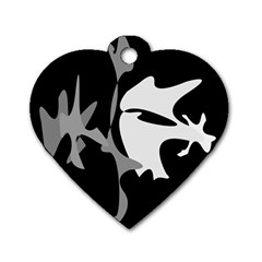 Black and white amoeba abstraction Dog Tag Heart (One Side)