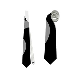 Black and white amoeba abstraction Neckties (Two Side)