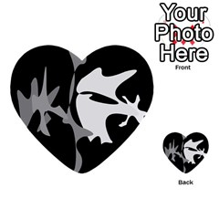 Black and white amoeba abstraction Multi-purpose Cards (Heart)