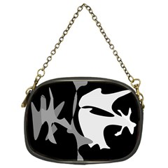 Black and white amoeba abstraction Chain Purses (One Side)
