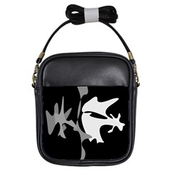 Black and white amoeba abstraction Girls Sling Bags