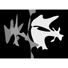Black and white amoeba abstraction Birthday Cake 3D Greeting Card (7x5)