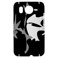 Black and white amoeba abstraction HTC Desire HD Hardshell Case