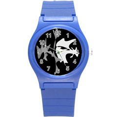 Black and white amoeba abstraction Round Plastic Sport Watch (S)