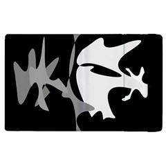 Black and white amoeba abstraction Apple iPad 2 Flip Case