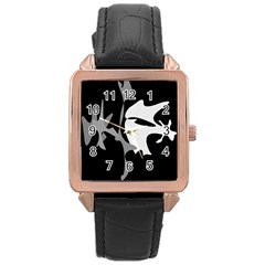 Black and white amoeba abstraction Rose Gold Leather Watch