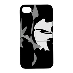Black and white amoeba abstraction Apple iPhone 4/4S Hardshell Case with Stand