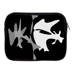 Black and white amoeba abstraction Apple iPad 2/3/4 Zipper Cases