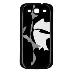 Black and white amoeba abstraction Samsung Galaxy S3 Back Case (Black)