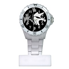 Black and white amoeba abstraction Plastic Nurses Watch