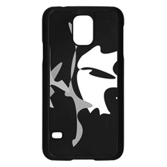 Black and white amoeba abstraction Samsung Galaxy S5 Case (Black)