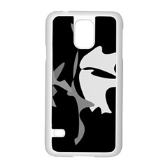 Black and white amoeba abstraction Samsung Galaxy S5 Case (White)