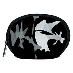 Black and white amoeba abstraction Accessory Pouches (Medium)