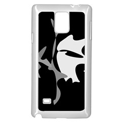 Black and white amoeba abstraction Samsung Galaxy Note 4 Case (White)