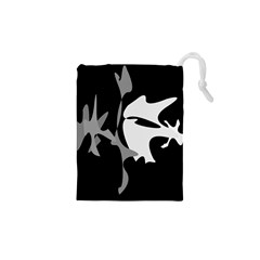 Black and white amoeba abstraction Drawstring Pouches (XS)