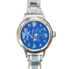 Blue amoeba abstraction Round Italian Charm Watch