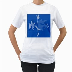 Blue amoeba abstraction Women s T-Shirt (White) (Two Sided)