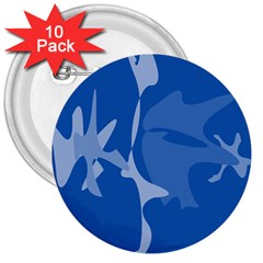 Blue amoeba abstraction 3  Buttons (10 pack)