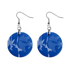 Blue amoeba abstraction Mini Button Earrings