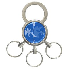 Blue amoeba abstraction 3-Ring Key Chains