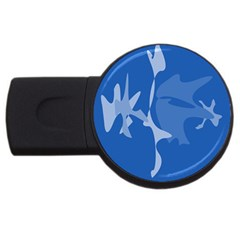 Blue amoeba abstraction USB Flash Drive Round (1 GB)